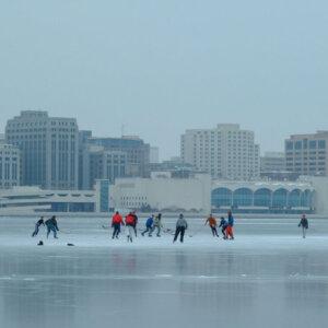 Hockey on Lake Monona