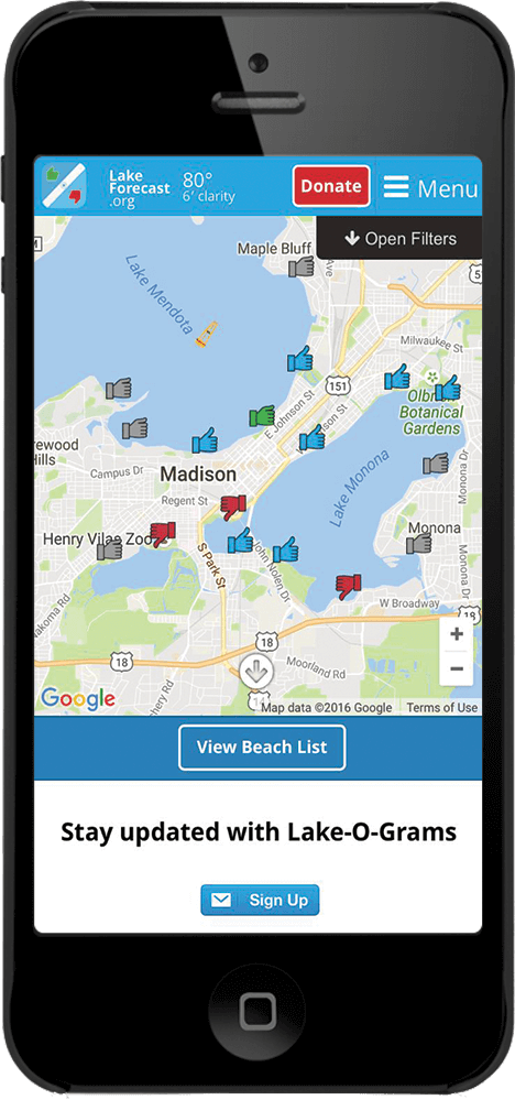 Get involved by watching the lake and beaches forecast on your phone