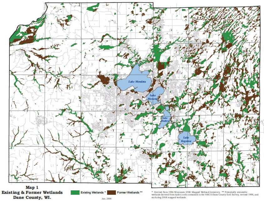 Existing and Former Wetlands of Dane County