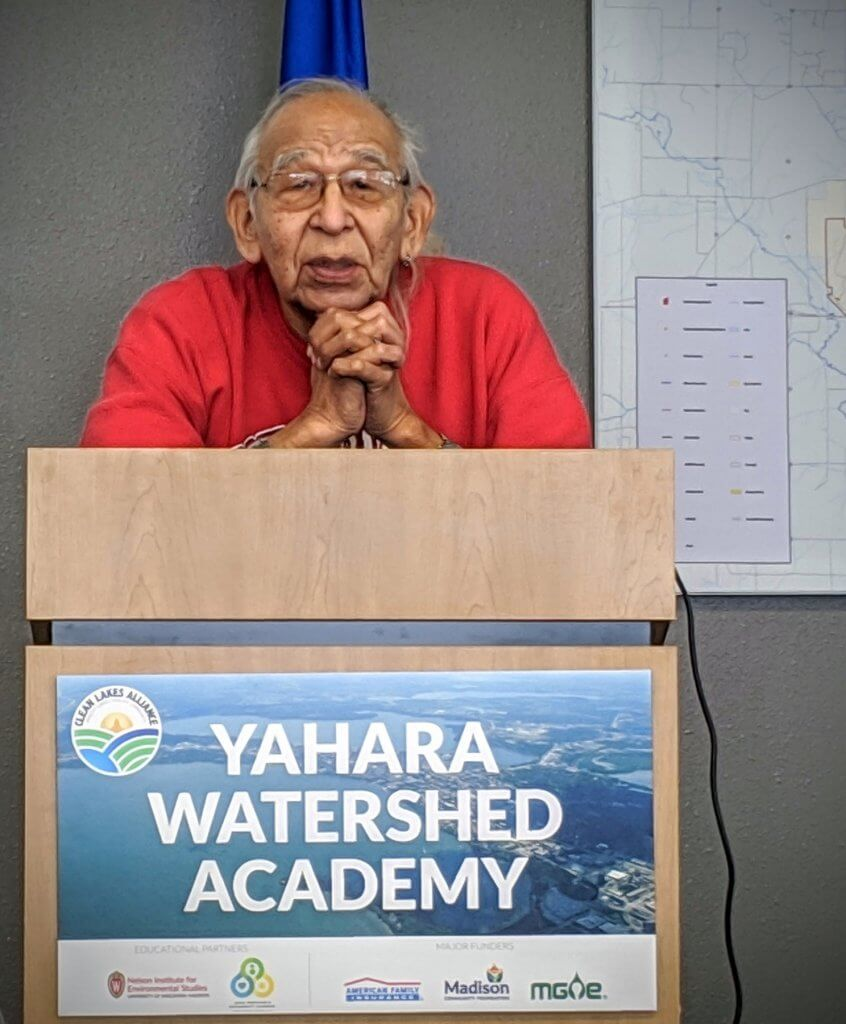 Andy Thundercloud, Ho-Chunk Tribe Elder presents at the 2019 Yahara Watershed Academy