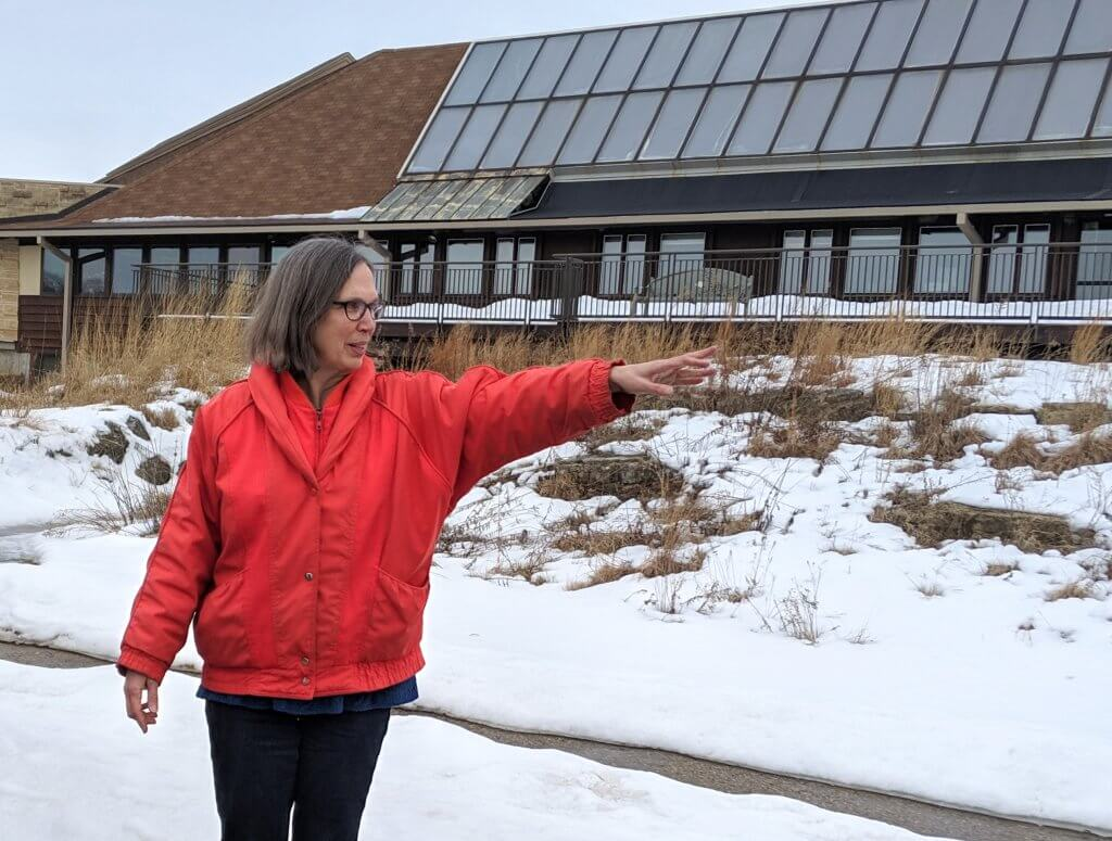 Karen Oberhauser, Director of the UW Arboretum gives a tour to the Yahara Watershed Academy