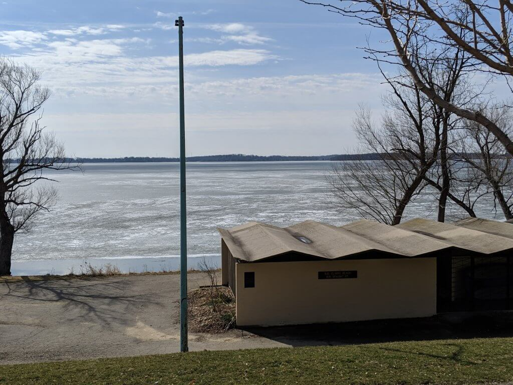 View of Lake Monona ice cover from BB Clarke Beach in Madison, on March 29, 2019
