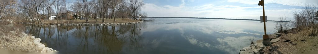 Panorama of the area where the Yahara River enter Lake Monona. This side of the lake had plenty of open water on March 29, 2019.